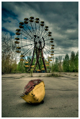 The main square of Pripyat,Ferris wheel in a city park.